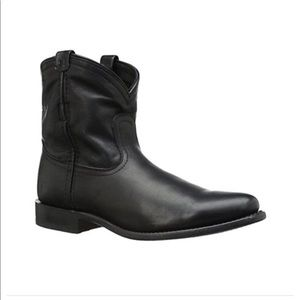 New Frye Wyatt Short Black Ankle Boots 8 Leather